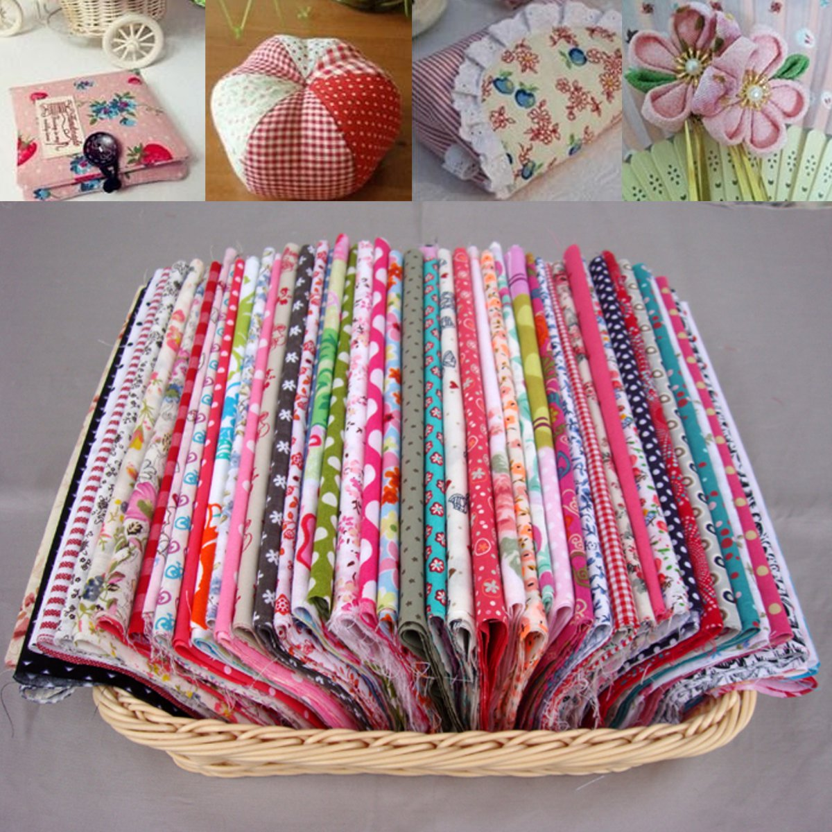 Meigar Pre-Cut Cotton Fabric Assorted Colors Floral Print Charm Quilt DIY Crafts Patchwork DIY Sewing Scrapbooking Quilting Dot Pattern