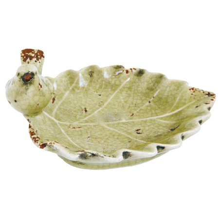 Leaf Shaped Tray Dish with Bird Tabletop Decor 6 Inches Ceramic Distressed