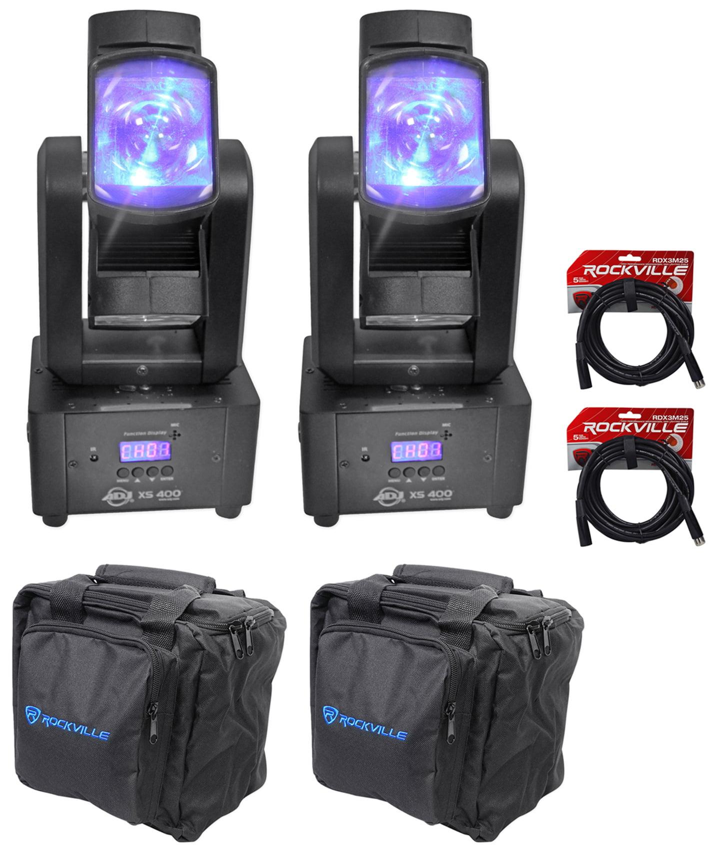 (2) American DJ ADJ XS400 LED Compact Moving Head Club FX Lights+Bags+Cables by American DJ