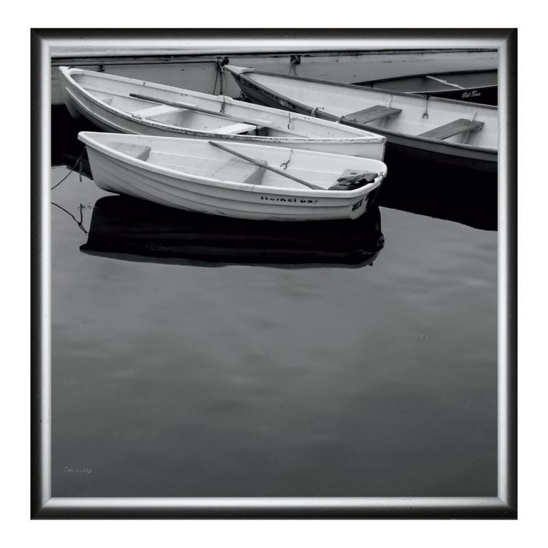 Green Leaf Art A Jumble of Boats Crop Framed Canvas Art 24-in 24-in