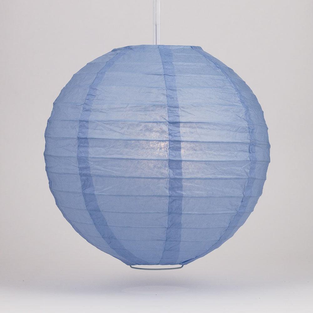 "Quasimoon 16"" Serenity Blue Round Paper Lantern, Even Ribbing, Hanging Decoration by PaperLanternStore"