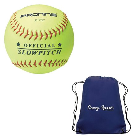 ProNine Slowpitch Softballs 12 Inch 52 Core/300 LB Compression (3-Pack) Bundled With Covey Sports Bag (3 Balls, Navy Blue