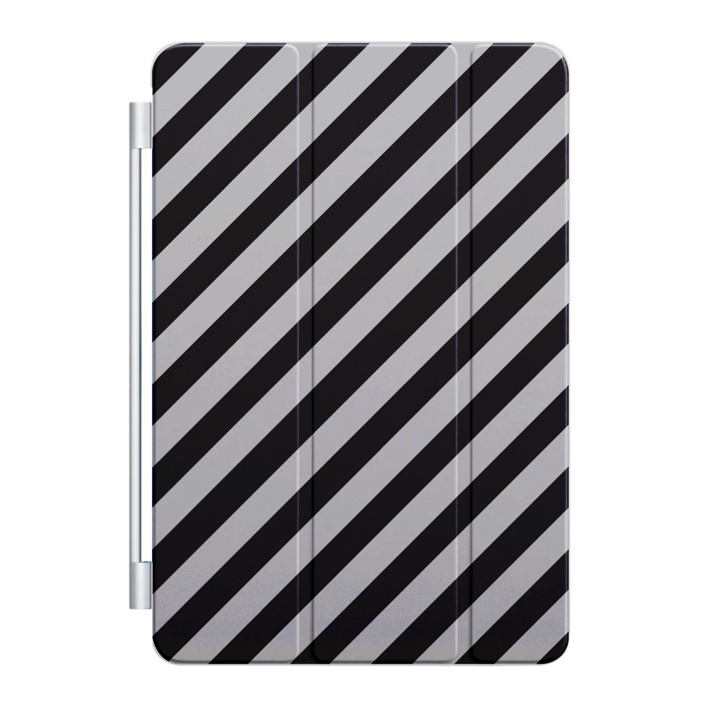 CUSTOM Black Smart Cover (Magnetic Front Cover / Stand) for Apple iPad Air 1 (2013 Model) - Black White Diagonal Stripes