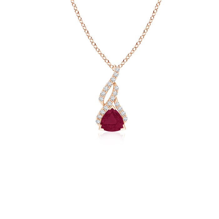 Angara Ruby Solitaire Pendant in 14k Rose Gold - July Birthstone Pendant Kw8EyBO