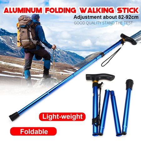 Trekking Hand Art - Grtsunsea Foldable Trekking Poles Walking Stick Adjustable 82-92cm 5-Section with Hand Strap Hiking Stick Pole Cane Alpenstock Anti-Shock For Mountaineering Traveling Aluminum