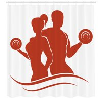 Fitness Shower Curtain, Muscled Man and Woman Silhouettes Holding Dumbbells Gym Health Strength Activity, Fabric Bathroom Set with Hooks, 69W X 70L Inches, Red and White, by Ambesonne