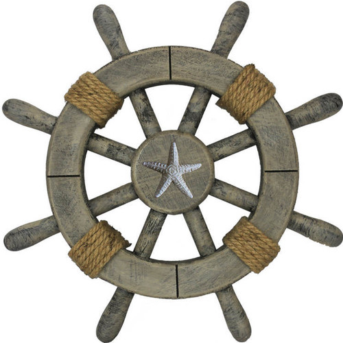 Handcrafted Nautical Decor Ship Wheel with Starfish Wall D cor