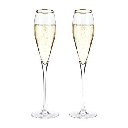 Elegant Crystal Glass - Champagne Flute Set, Gold Rimmed Crystal Riedel Vintage Elegant Champagne Flutes