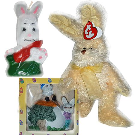 Vintage Inspired Easter Decor: Teapot Bunnies, Candle & Plush Gift Bundle [3 Piece]