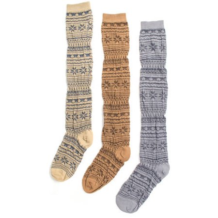 MUK LUKS Women's 3 Pair Over the Knee Microfiber Socks