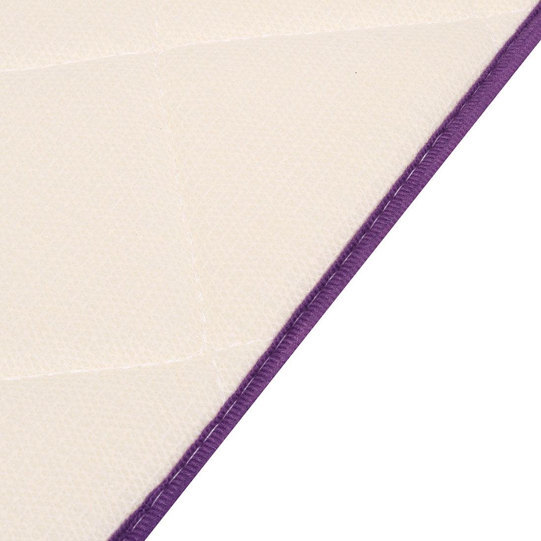 Bathroom Coral Fleece Slip Resistant Washable Floor Rug Carpet Doormat Purple - image 2 de 4