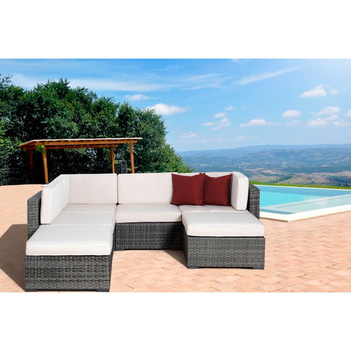 Clermont 6-Piece Grey Wicker Seating Set w/Off-White Cushions