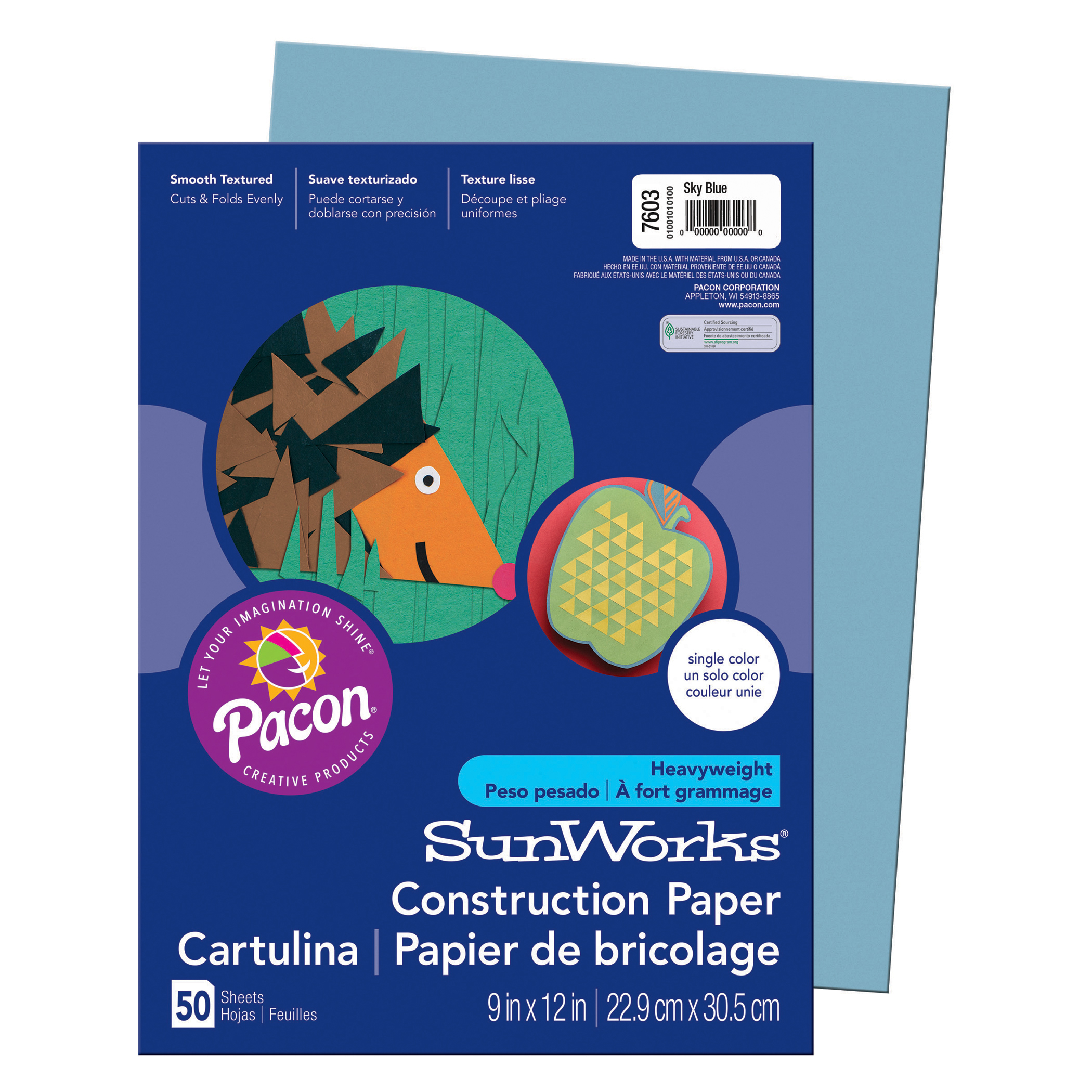 "Pacon® SunWorks® Construction Paper, 9"" x 12"", Sky Blue - 50 Sheets per pack, 25 packs"