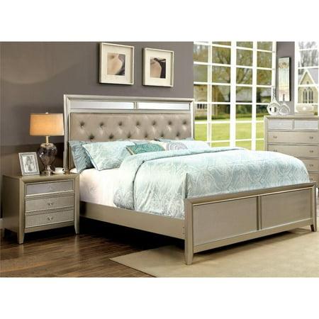 Furniture of America Maire 2 Piece Queen Bedroom Set in Silver ()