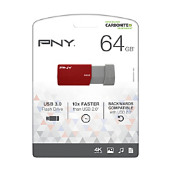 PNY USB 3.0 Flash Drive, 64GB, Assorted Colors, P-FD64GELEDG