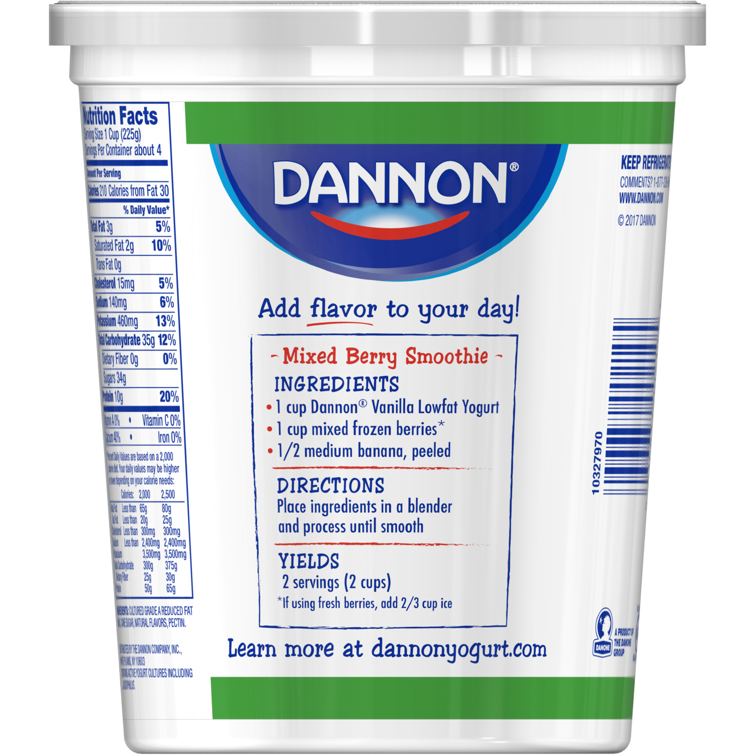 dannon vanilla all natural lowfat yogurt, 32 oz - walmart