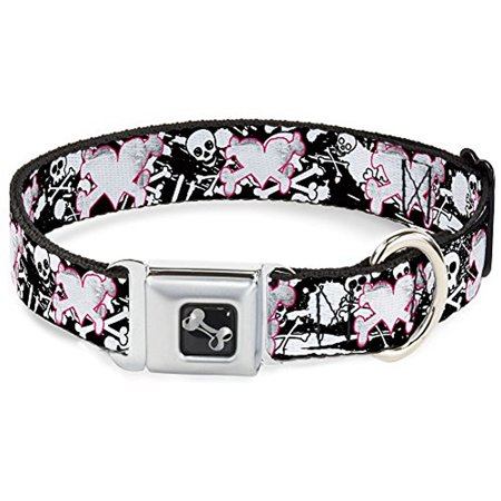 Pink Heart and Bones Skulls on Black Fun Animal Seatbelt Pet -
