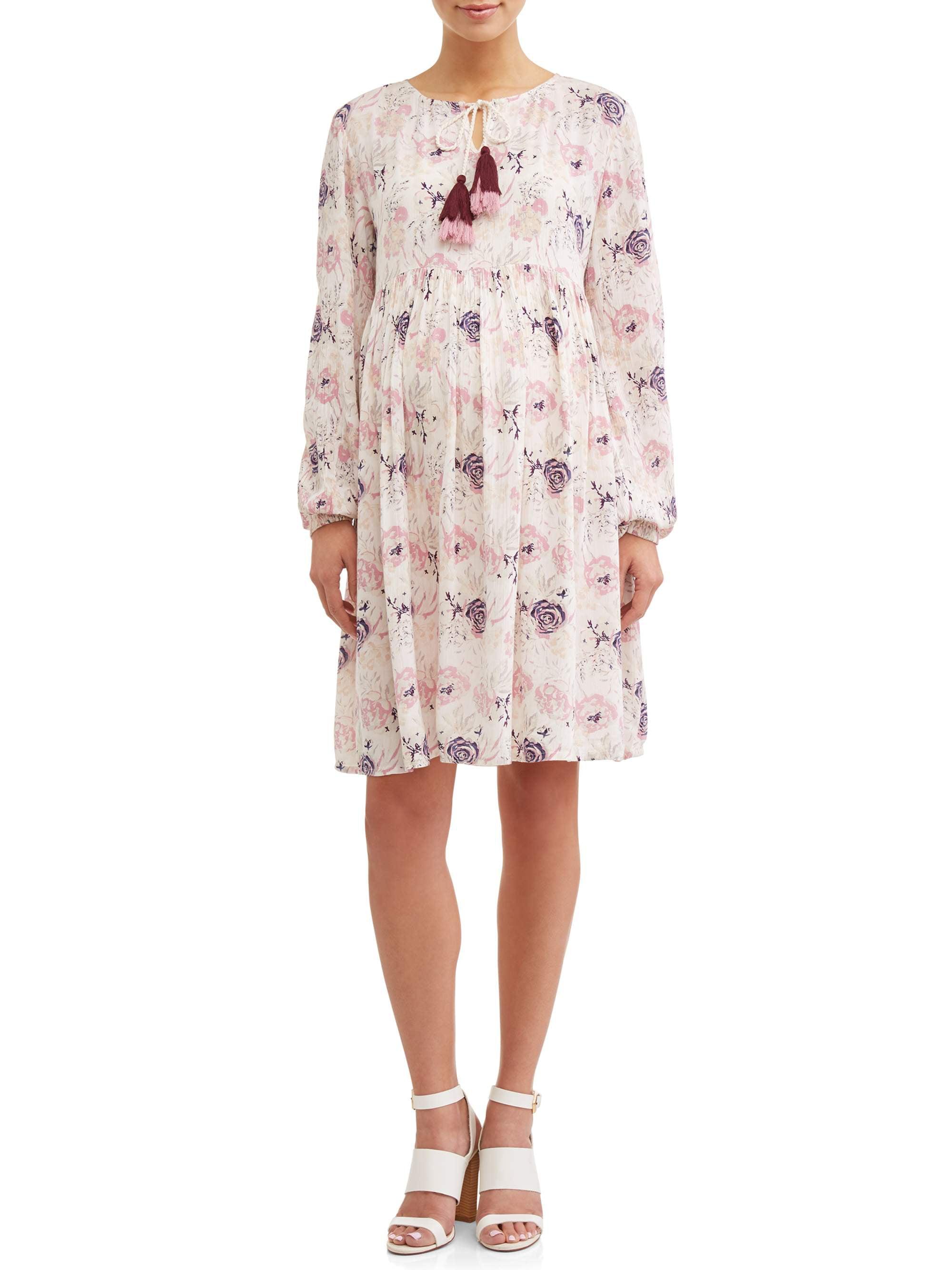 Maternity Tiered Boho Dress W/Tassels