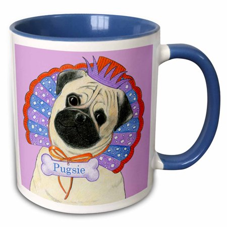 Sully Hat (3dRose Dog Pug Pug dog clown pug in hat collar whimsical bone tag Pugsie comical funny silly - Two Tone Blue Mug,)