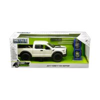 "2017 Ford F-150 Raptor Pickup Truck Off White w/ Black Stripes & Extra Wheels ""Just Trucks"" Series 1/24 Diecast by Jada"