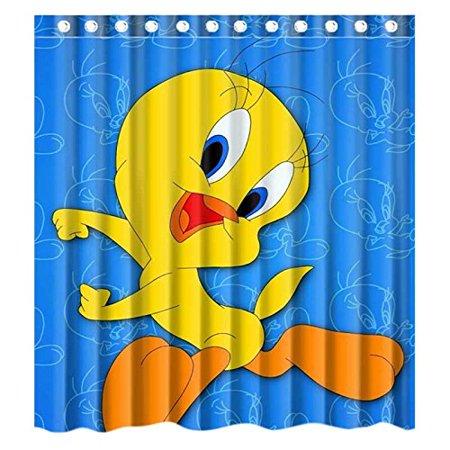 DEYOU Carton Anime Cute Tweety Bird Blue Background Shower Curtain Polyester Fabric Bathroom Size