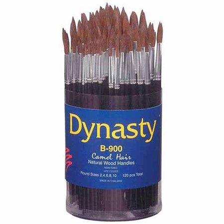 Dynasty B-900 Cylinder Fine Camel Hair Short Wood Handle Paint Brush Set, Assorted Size, Natural, Set of 120