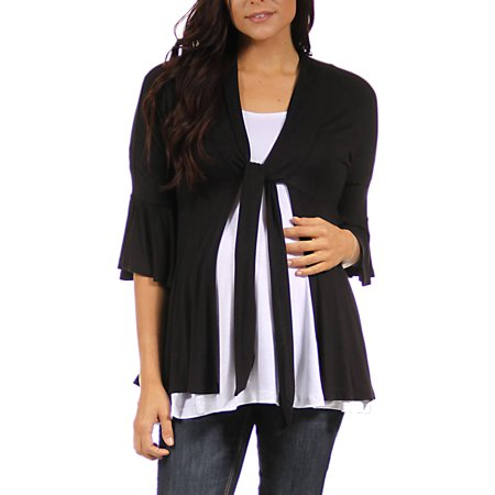 Maternity 3/4 Bell Sleeve Shrug With Front Tie (V Neck Sweater With Shirt And Tie)