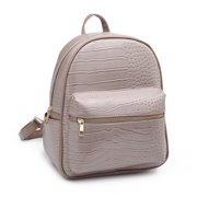 POPPY Women Faux Leather Shoulder Backpack Casual Travel Daypack Girls School Bag-Taupe