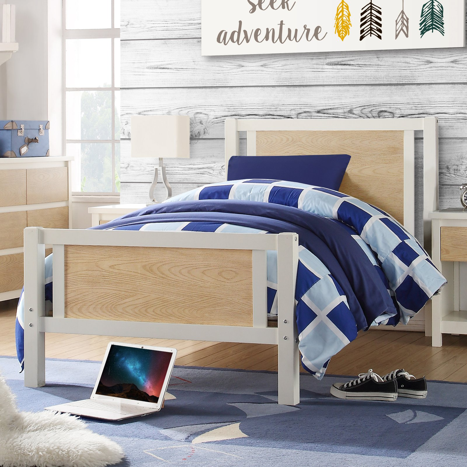 Dorel Living Blaine Youth Platform Bed - White/Natural