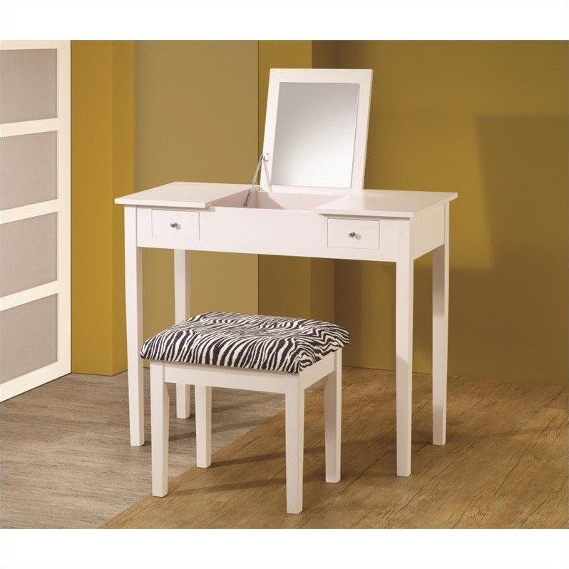 Coaster Company Lift-Top Vanity with Upholstered Stool, White/Zebra