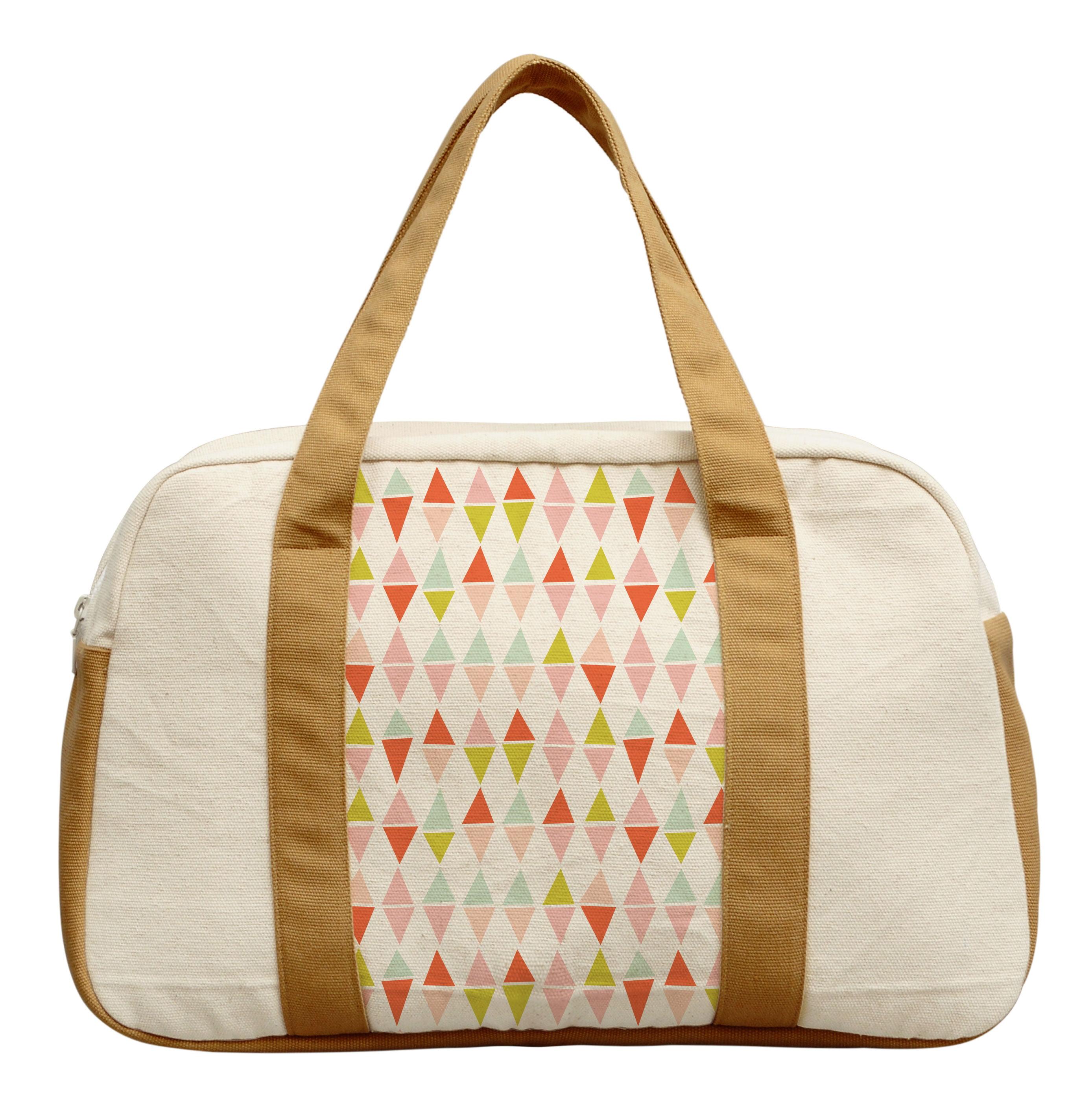 Women's Geometric Triangle Pattern Beige Print Canvas Duffel Travel Bags WAS_19 by Vietsbay