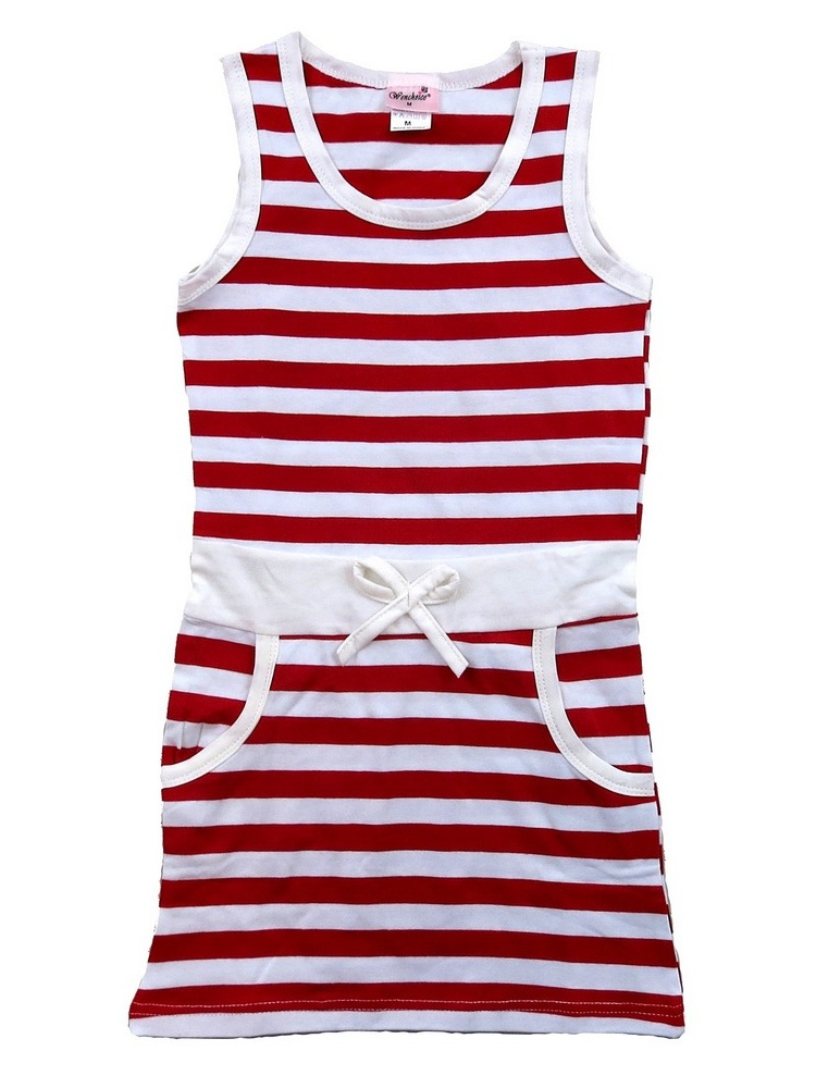 Wenchoice Little Girls Red White Striped Cotton Sleeveless Polo Dress