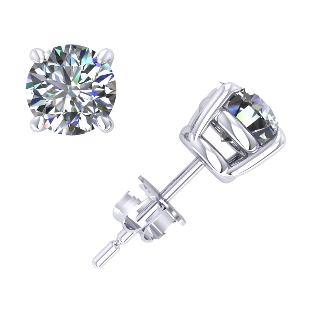 1.50Ct Round Cut Diamond Basket Stud Earrings 14k White Gold Prong Set Push Back I SI2