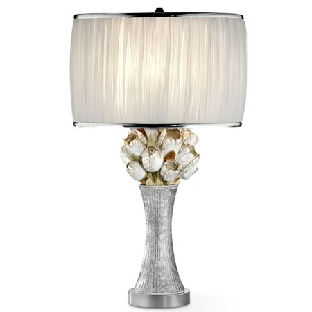 Ok Lighting 29 H Floral Table Lamp  Silver