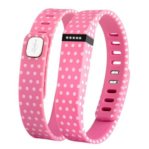 Zodaca 3D TPU Wristband Replacement Small Band Bracelet Wireless Activity Tracker Clasp for Fitbit Flex Pink Polka Dot