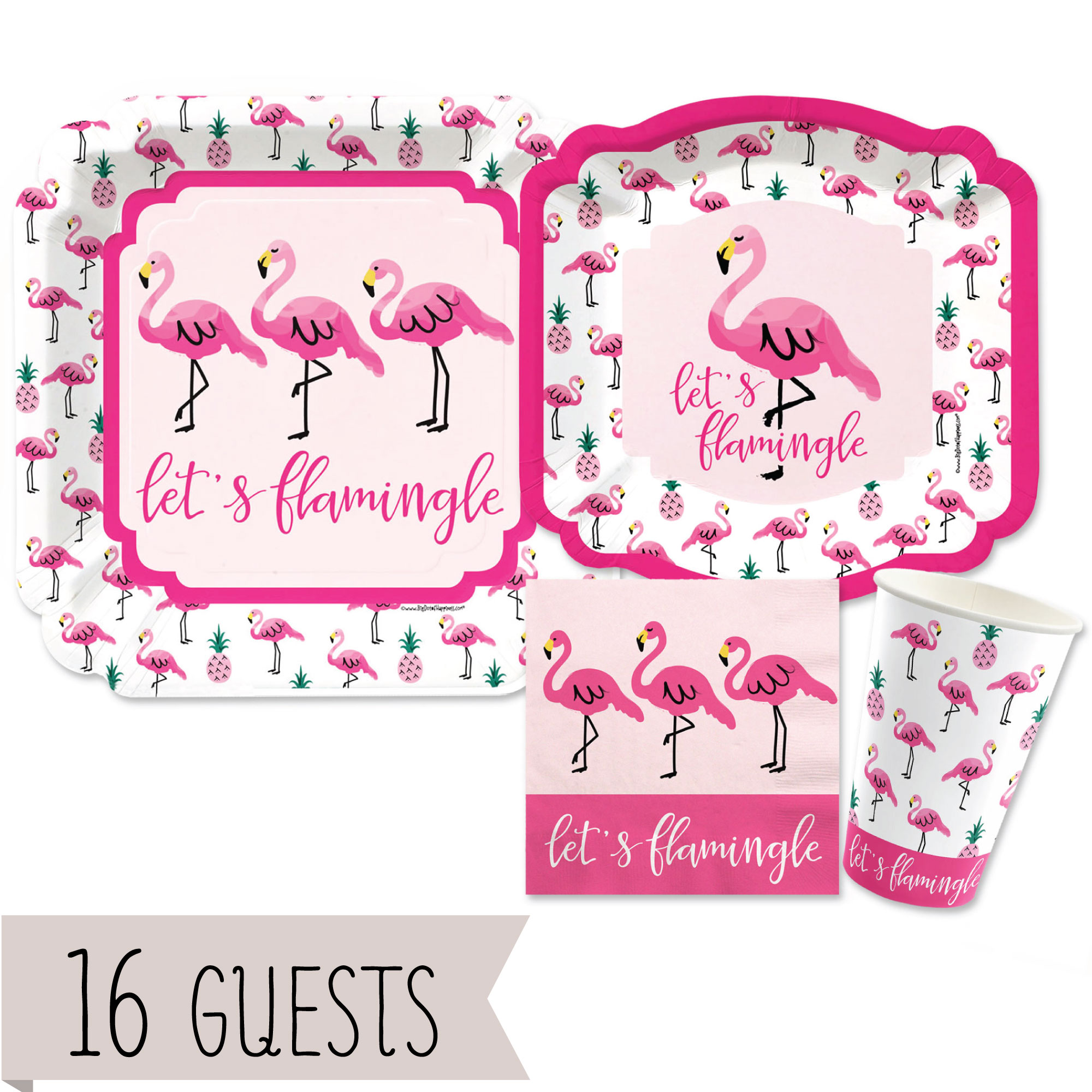 Flamingo - Party Like a Pineapple - Baby Shower or Birthday Party Tableware Plates, Cups, Napkins - Bundle for 16