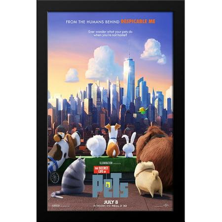 The Secret Life of Pets 28x38 Large Black Wood Framed Movie Poster Art