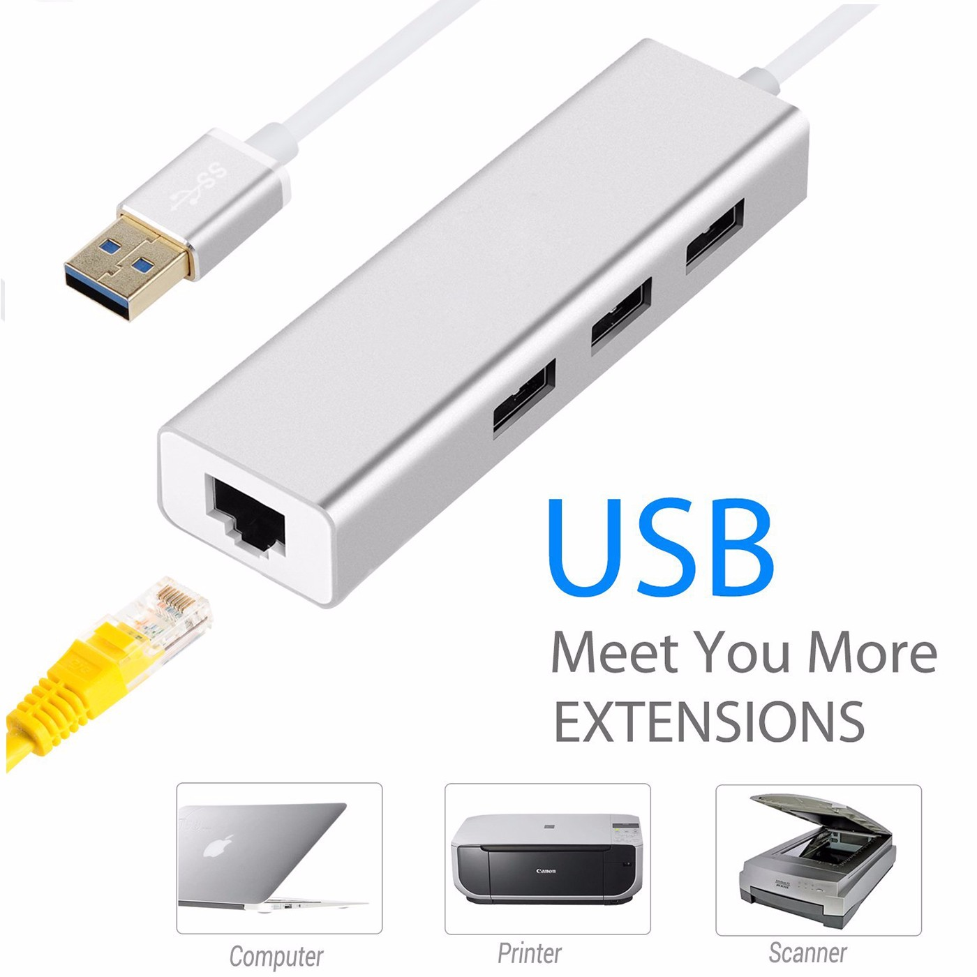 USB 3.0 Hub 3-Port to RJ45 Adapter Network Hub with 10/100/1000 Gigabit Ethernet Connector Extender for MacBook Microsoft Surface Chromebook