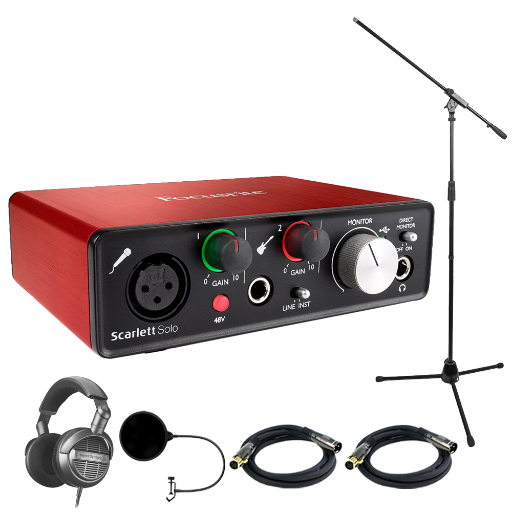 Focusrite Scarlett Solo USB Audio Interface (2nd Gen) with Headphone Bundle