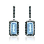 ASHER JEWELRY 14k White Gold Blue Topaz and Blue Diamond Accents Earrings