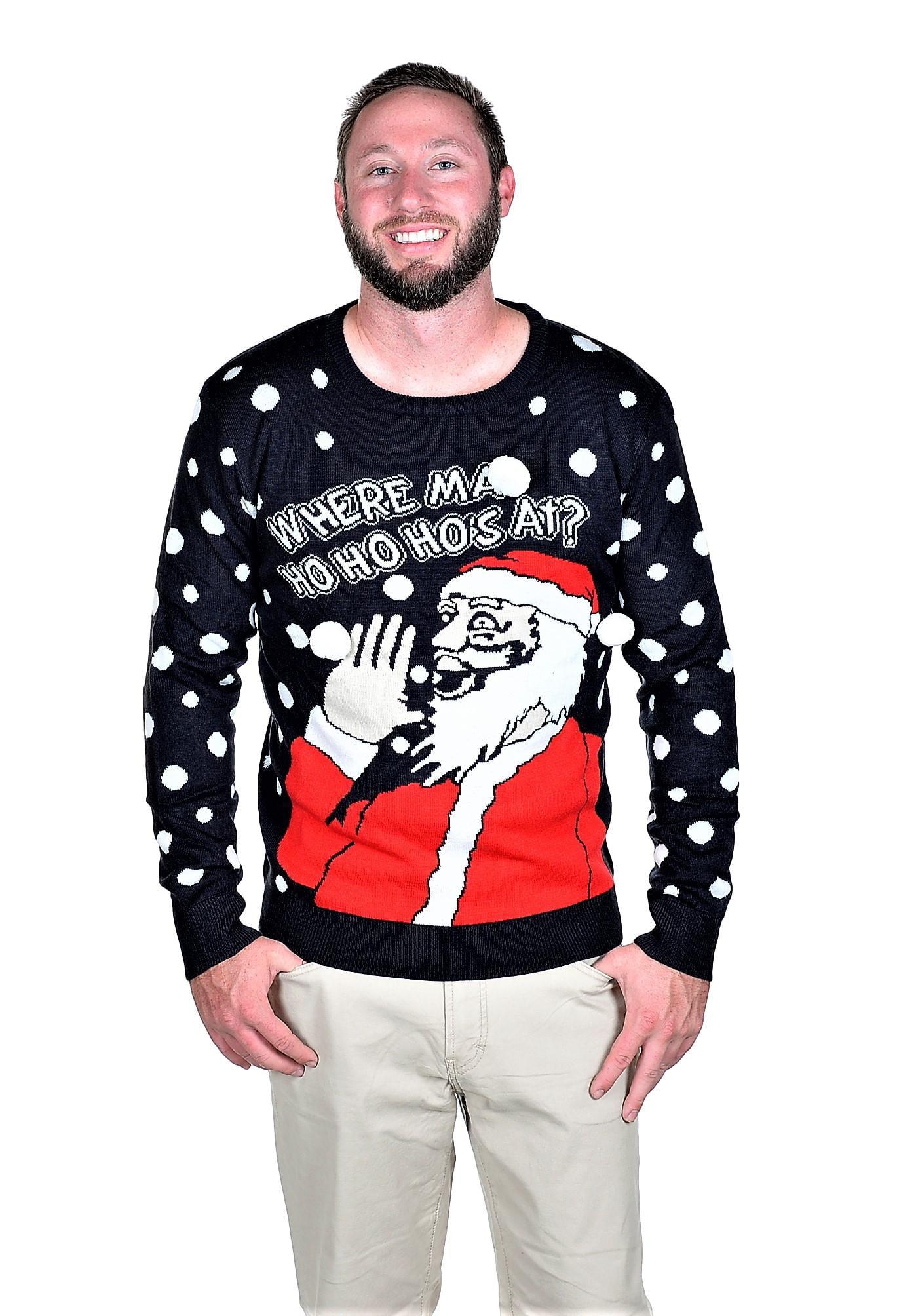 Unisex Where Ma Ho Ho Hos Ugly Christmas Sweater Navy