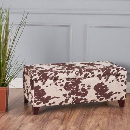 Incredible Noble House Brianna Velvet Storage Ottoman Bench Cow Print Caraccident5 Cool Chair Designs And Ideas Caraccident5Info