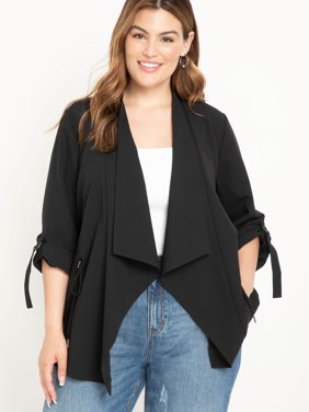 ELOQUII Elements Women's Plus Size Utility Jacket with Waterfall Front
