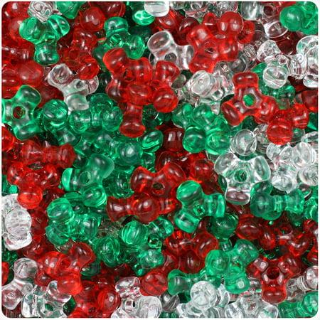- BeadTin Christmas Mix Transparent 11mm TriBead Craft Beads (600pcs)