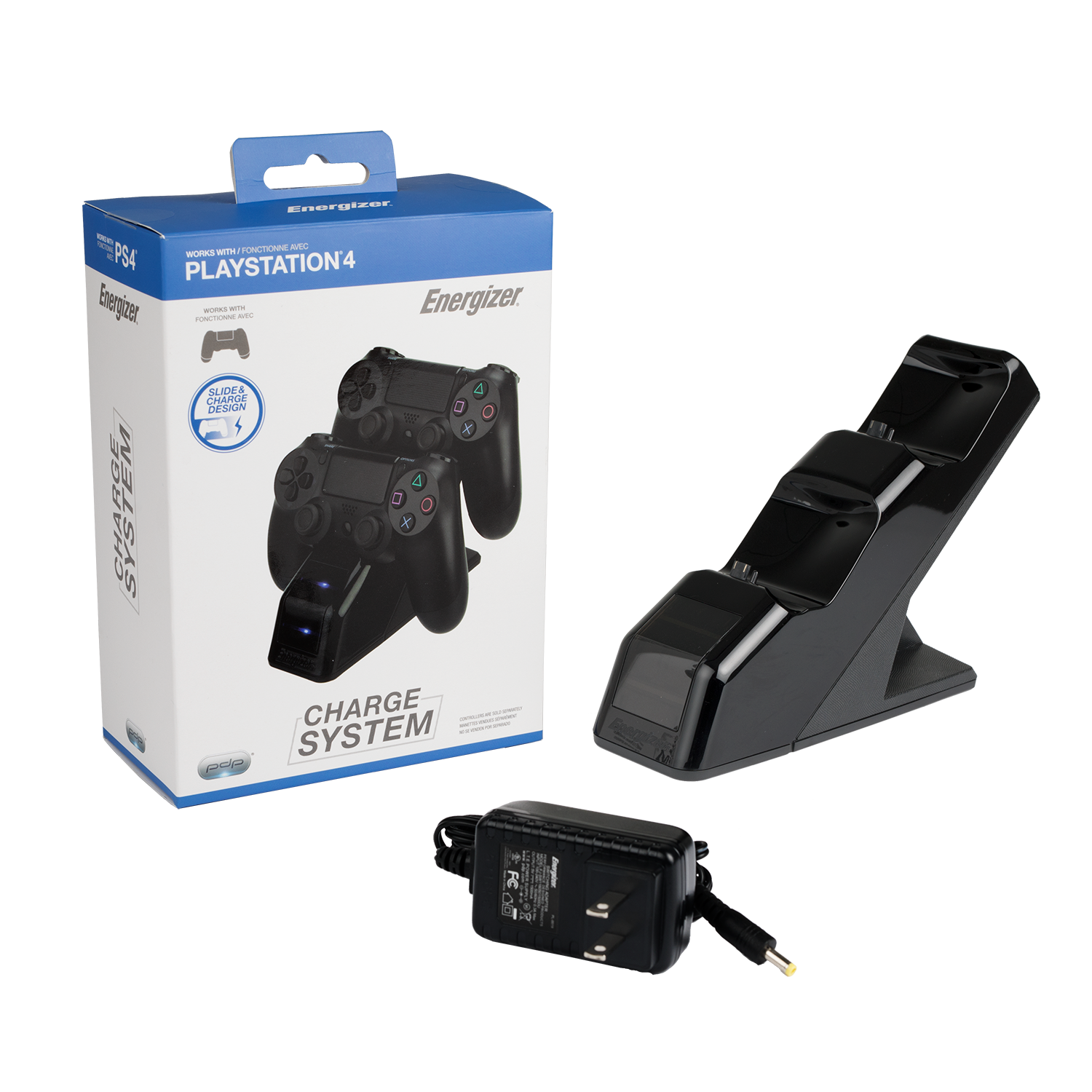 PDP Energizer PS4 Controller Charger Charging Station, Black, 0019