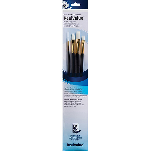 Real Value Brush Set Synthetic White Taklon, Round 1, Bright 4, Filbert 4, Flat 6