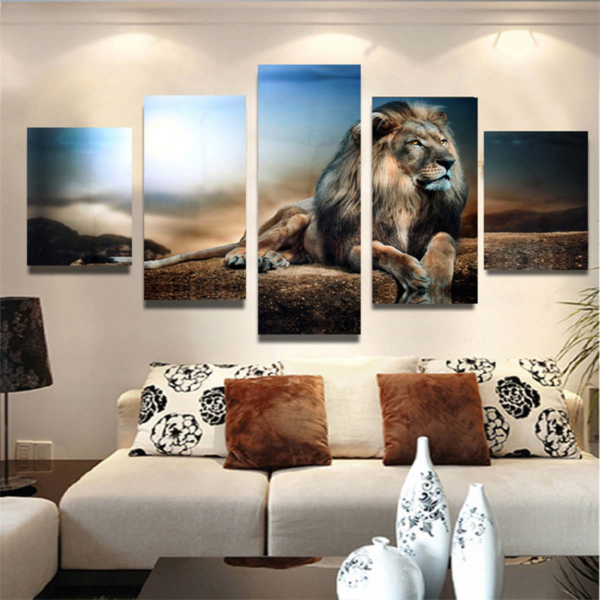 5Pcs/set Modern Abstract Sitting Lion Oil Painting Canvas Picture Print Wall Art Home Decoration Present Gift