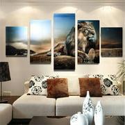 5Pcs/set Sitting Lion Canvas Print Art Painting Picture Home Wall Decoration