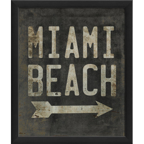 The Artwork Factory Miami Beach Beach Sign Framed Textual Art
