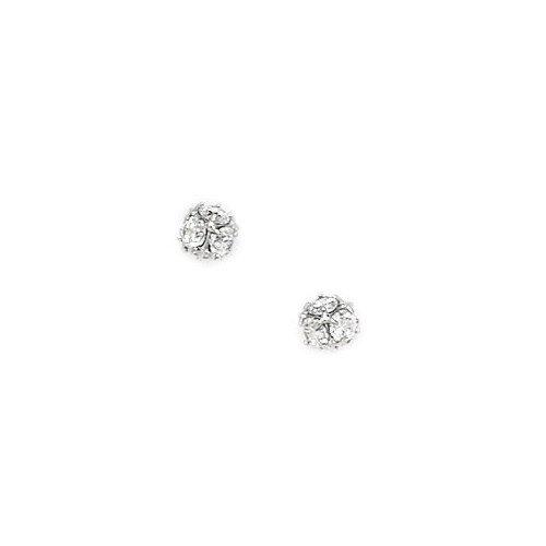 Jewelryweb Small Disco Ball Cubic Zirconia Stud Earrings